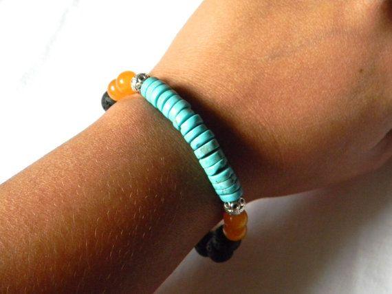 SN0090 Bohemian Style Lava Stein Türkis Armband Herrenschmuck Lava Rock Armband DIY Design Schmuck Kostenloser Versand