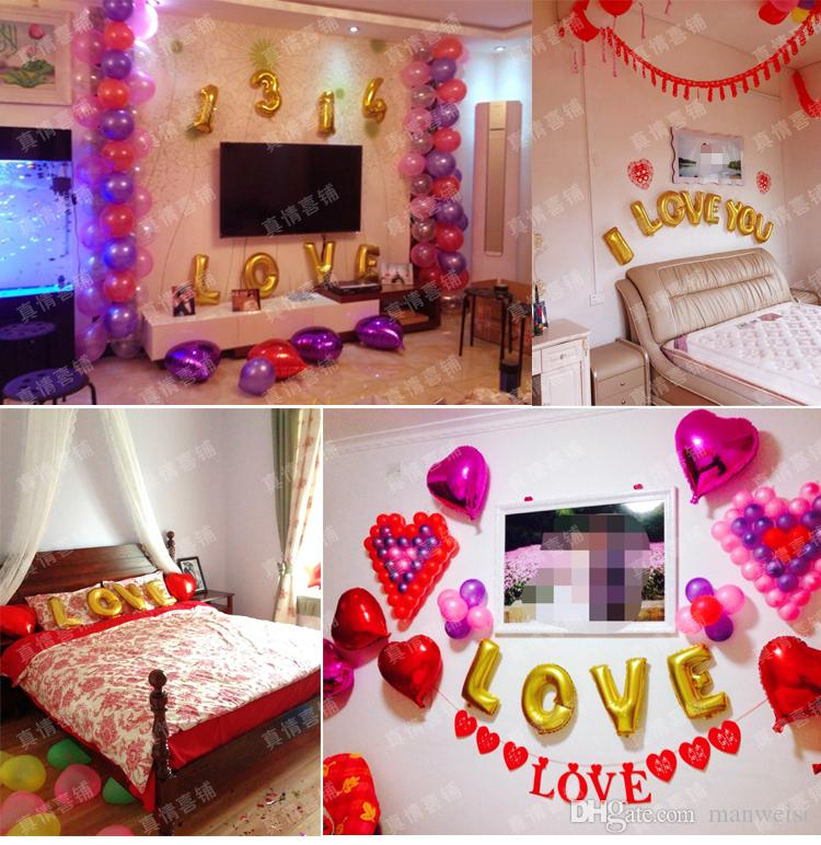 Red Wedding Ideas On A Budget: Free Shiiping Cheap Wedding Balloons Aluminum Coating