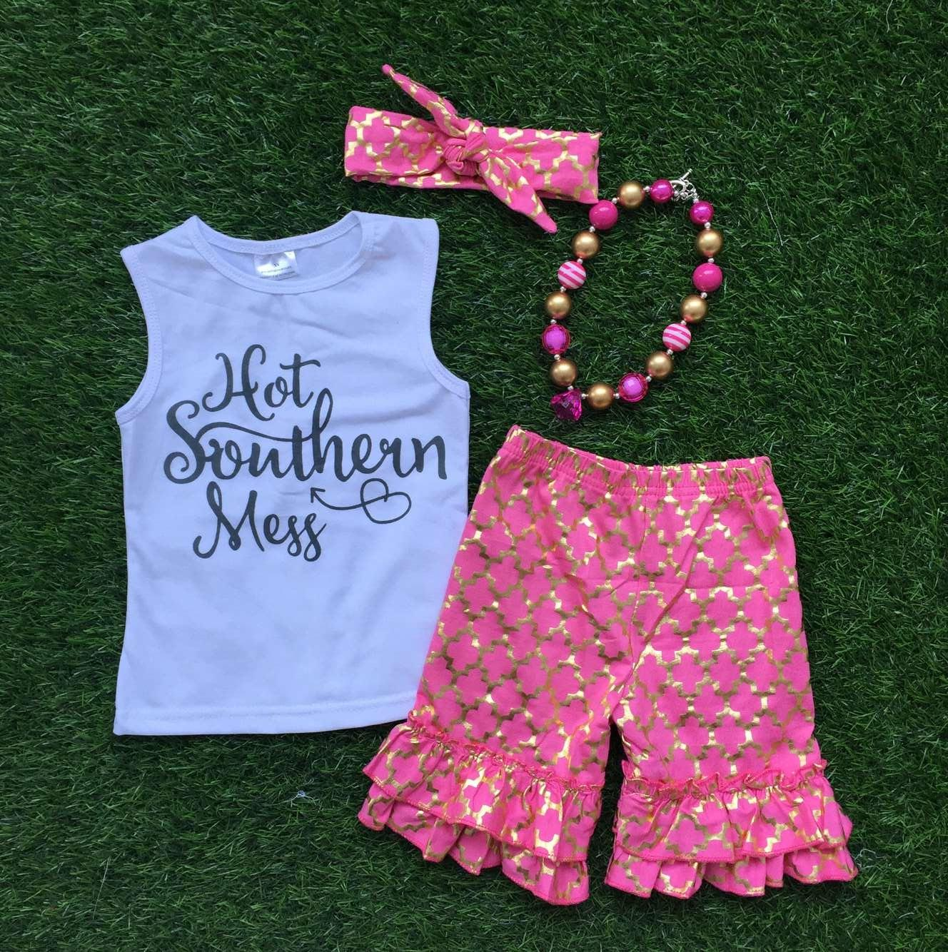 2019 2016new Baby Girls Summer Clothes Boutique Clothing Girls Hot Southern  Mess Outfits With Necklace And Headband From Arielchow ca48b5e21