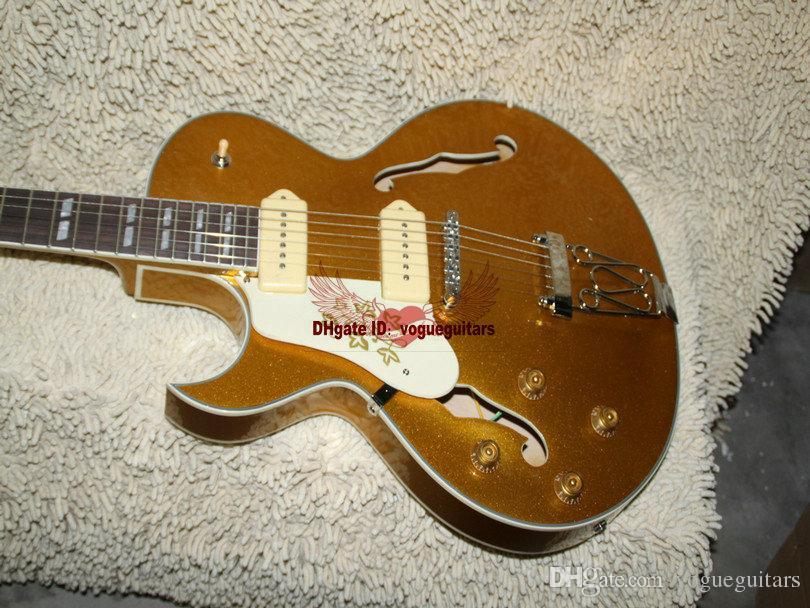 جديد أعسر الغيتار 175 جوفاء الجسم غيتار كهربائي goldtop oem الغيتار