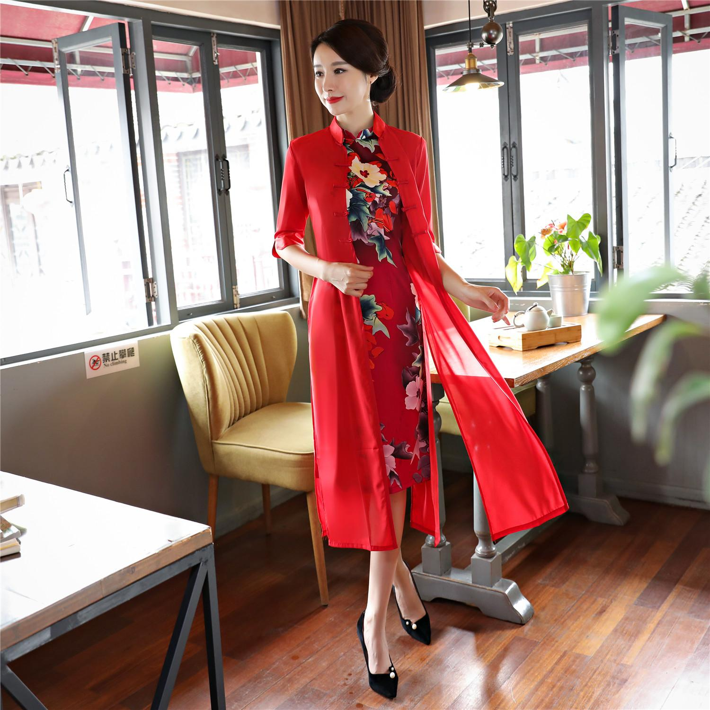 968e2bdc73e Shanghai Story Chinese Traditional Clothing Short Qipao Chinese Cheongsam  Dress Modern Cheongsam with Faux Silk Coat Set Chinese Cheongsam Dress  Qipao Dress ...