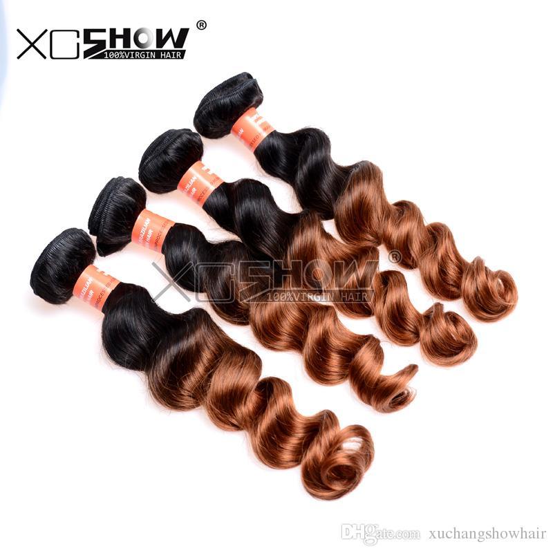 Hot Sale 7A Grade 100% Virgin Brazilian Loose Wave Two Tone Ombre Fumi Hair Bohemian Curls Extension Hair For Cheap Queen Wave