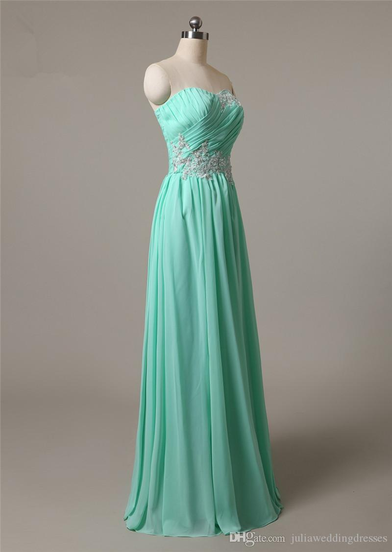 2017 Sexy Green Sweetheart Appliques Formal Evening Dresses With Pleat Chiffon Floor-Length Plus Size Prom Party Celebrity Gowns BE07