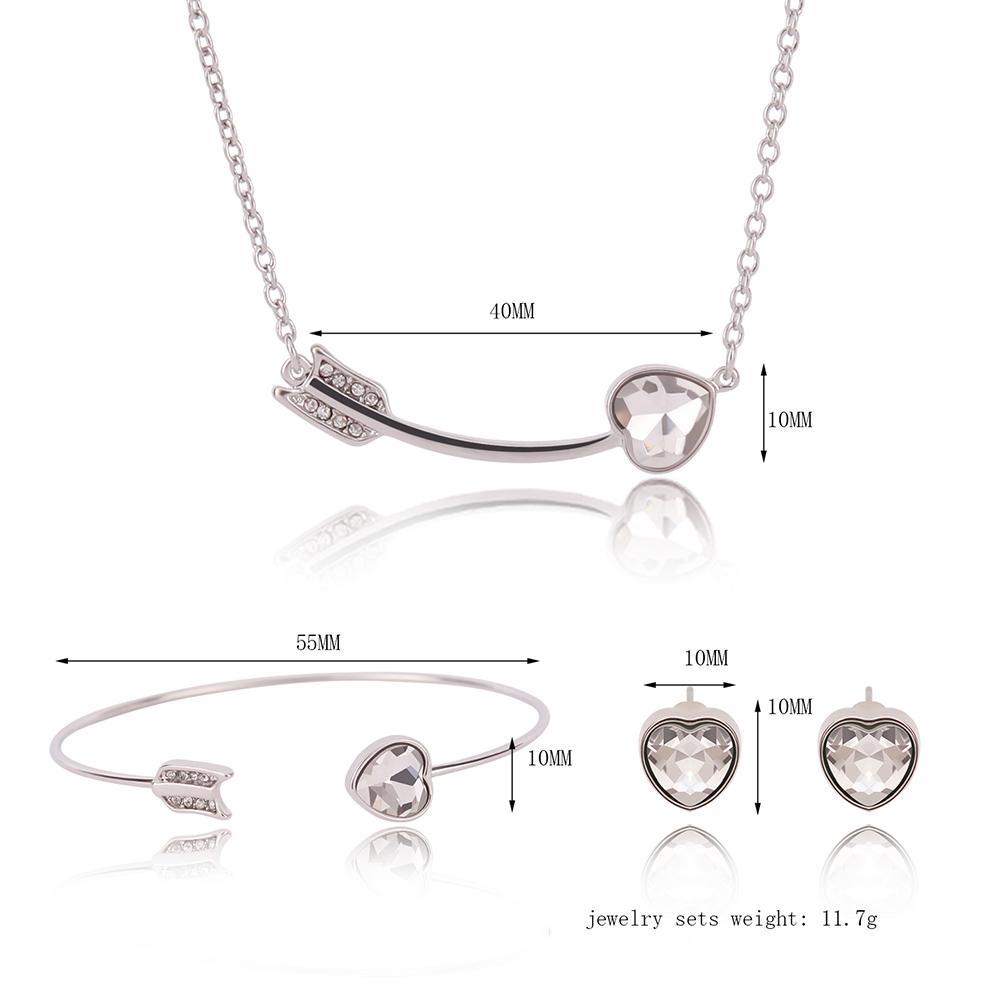 Pendientes Collar Brazalete Conjunto de Joyas Vintage Lujo Mujeres Diamantes de imitación Chapado en oro Blanco Flecha Corazón Corazón Joyas de 3 piezas Conjunto Venta al por mayor JS303