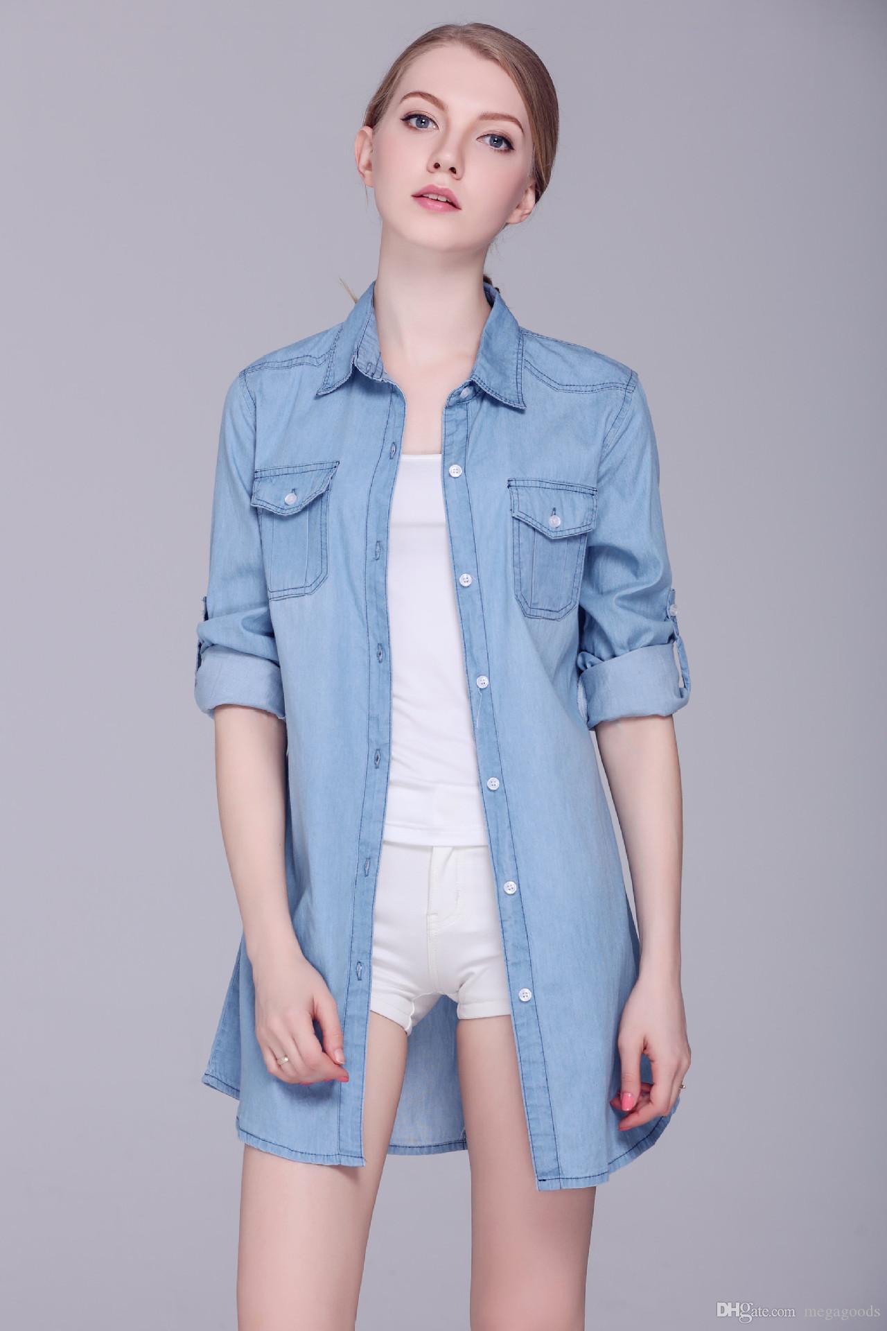 Chemise Jean Longue dedans acheter / poches filles hot single breasted cowboy longue chemise