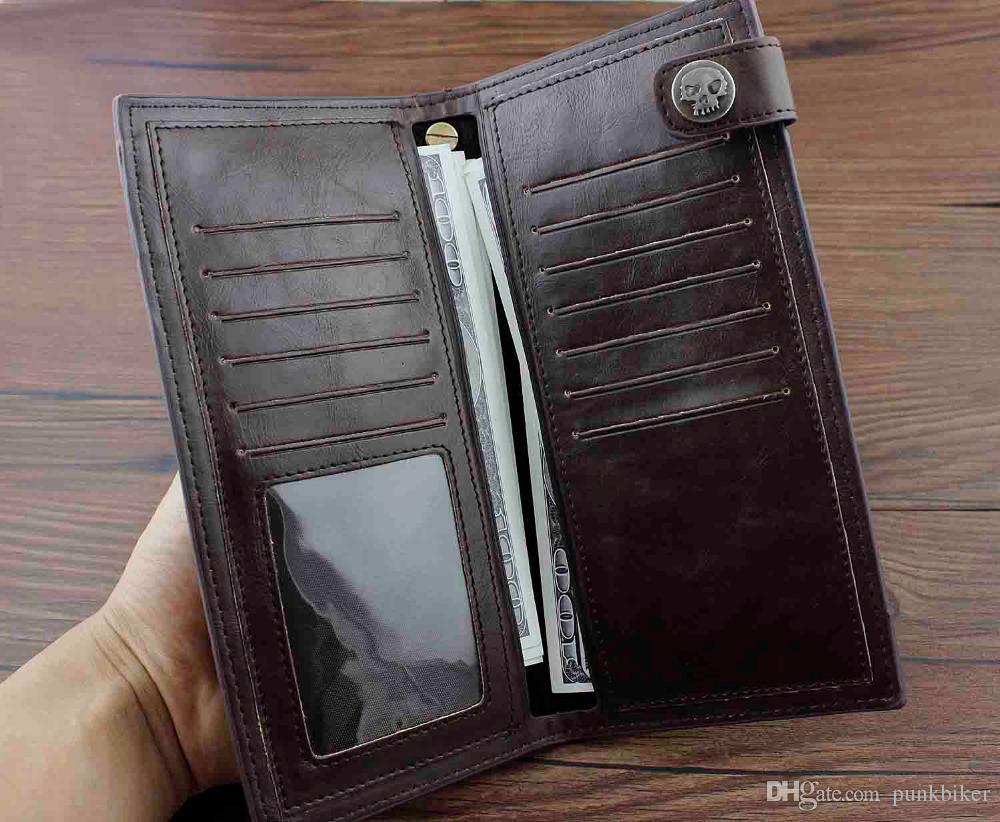 الجملة الشرير الصخرة الجمجمة الصليب براون الأسود الرجال جلدية المحفظة بطاقة طويل المال مع سلسلة لبيع الهدايا
