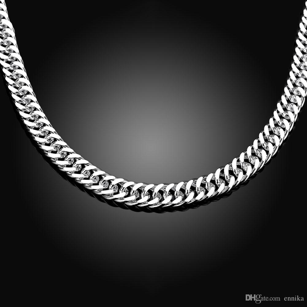 Christmas gift Men's Curb Necklaces 925 Silver Figaro Chains Fashion Jewelry 20inch 10mm n039