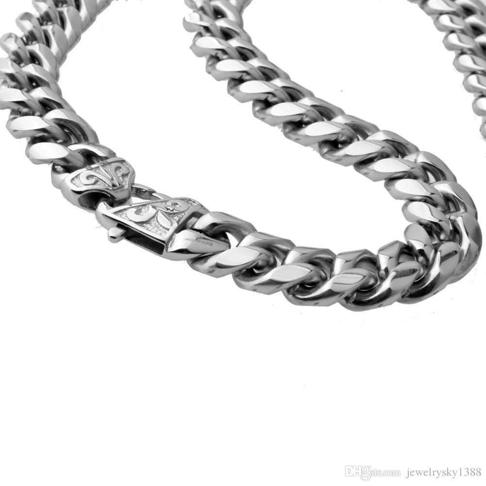 14mm Breite Schwere Gold Silber Kubanische Curb Link Rombo 316L Edelstahl Armband Herren Kette Jungen Schmuck