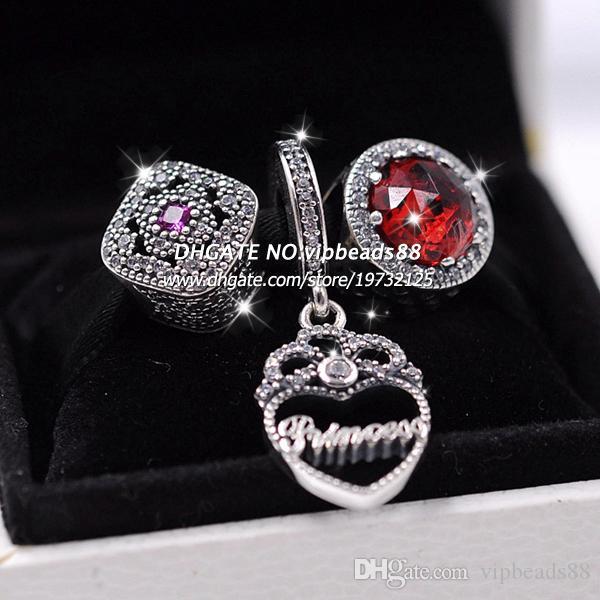 S925 Sterling Silber rote Katzenauge Krone Anhänger Schmuck Set Fit europäischen Charme Armband Perlen Schmuck machen