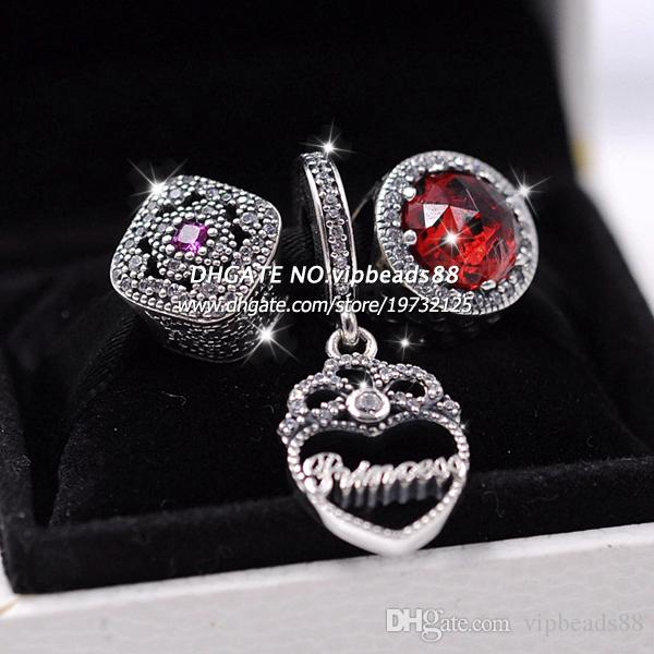 S925 Sterling Silver Red cat's eye crown pendant Jewelry Set Fit European Charm Bracelet Beads & Jewelry Making