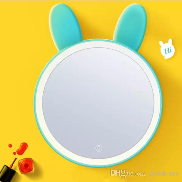 lovely rabbits$ fox ears mirror OT-13 Lady Makeup Cosmetic LED rechargeable touch Mirror Compact led Mirror with storage box