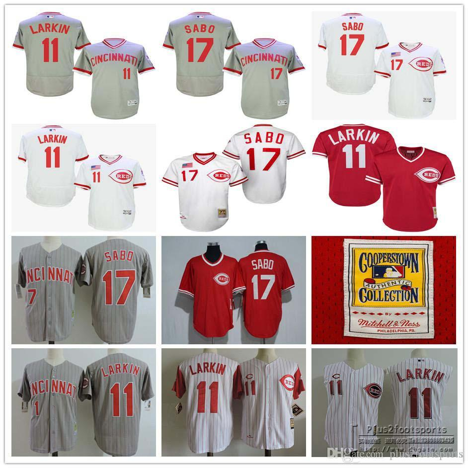 online store 9633e 3dee2 mens cincinnati reds 11 barry larkin 1990 white throwback jersey