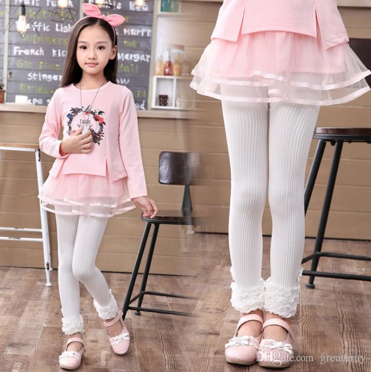Wholesale Baby Girls Cotton Autumn Leggings Pants Children Baby Kids cute knitted lace Leggings kids warm tight trousers
