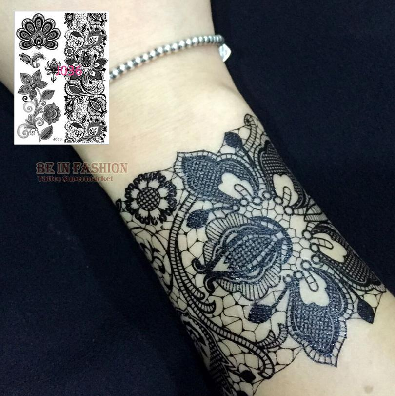 Wholesale black white henna lace tattoo flash waterproof for Wholesale temporary tattoos