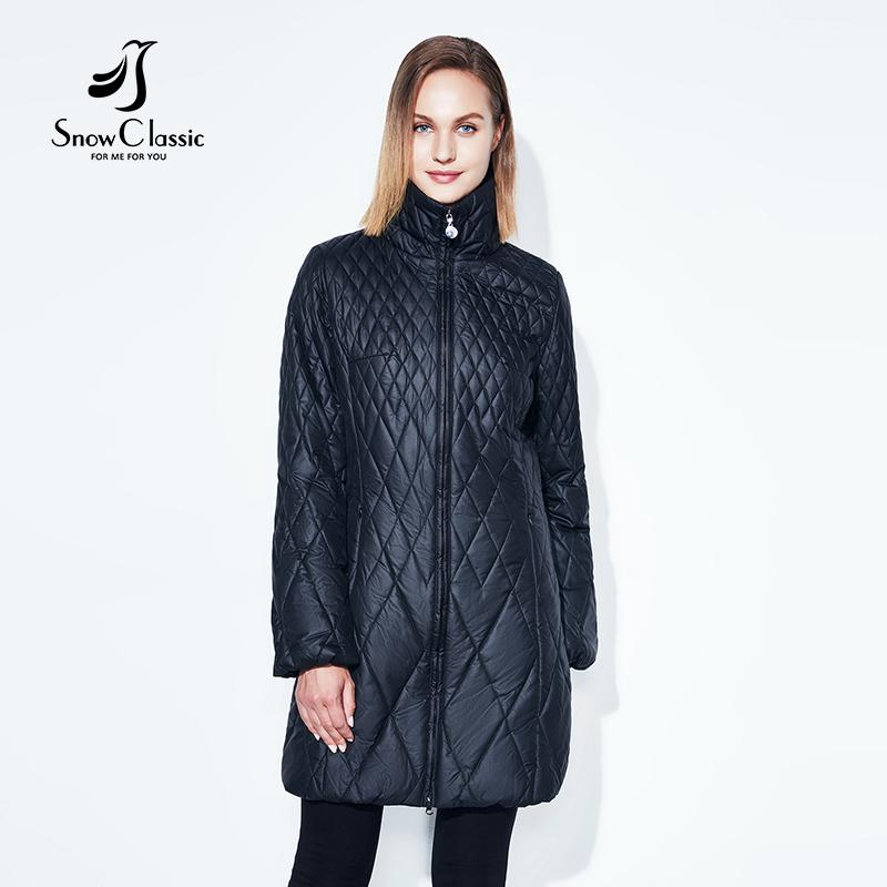 Snowclassic Spring Jacket Women Parka Thin Lantern Sleeve Quilted ...