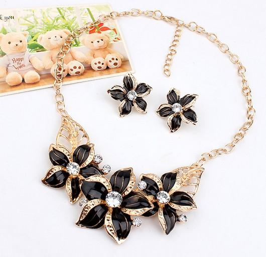 Wedding Party Jewelry Necklaces Earrings Set Flowers Statement Necklaces Jewelry Sets Chokers Ear Studs Womens Party Jewelry Sets
