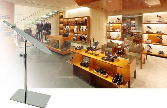 Mirror silvery boutique shoes showing stand sandals high heel shoes display holder metal store window display rack