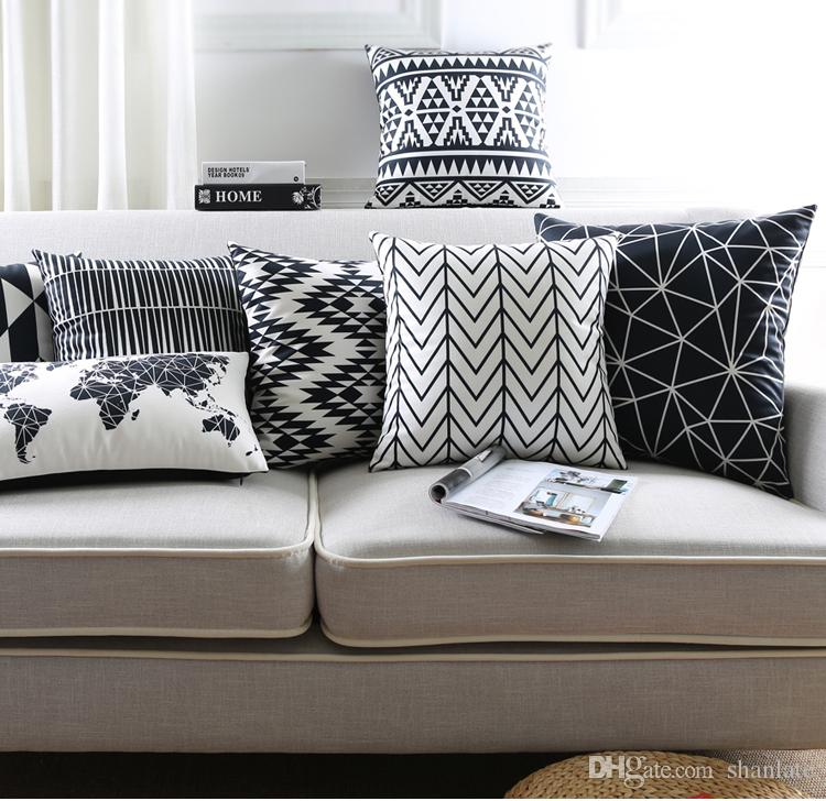 Black white geometric triangles diamonds zigzags chevrons world map black white geometric triangles diamonds zigzags chevrons world map pattern soft cushion cover home car decorative pillow case cushion cover throw pillow gumiabroncs Image collections