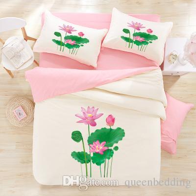 3d Lotus Flower Bedding Pink Lotus Verdurous Leaves 3d Bedding Sets