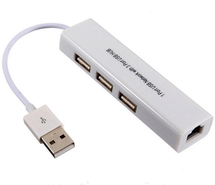 USB vers RJ45 ethernet avec 3 ports HUB Marque CE Pour macbook et ultrabook ios android Tablet pc Win 7 8 DHL
