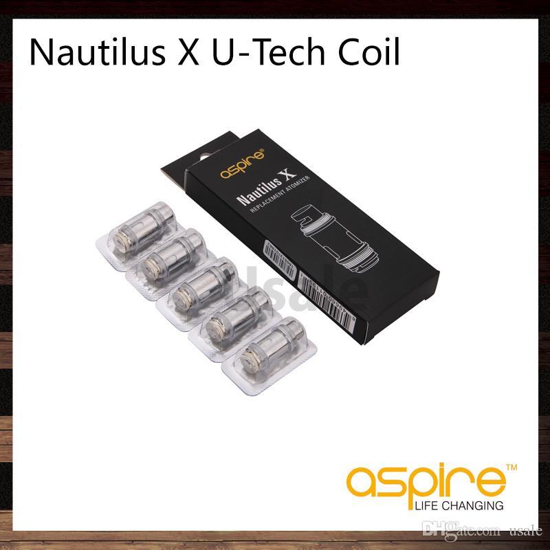 Aspire PockeX Bobine 0.6ohm Nautilus x U-Tech Bobines 1.5ohm 1.8Ohm Nautilus X Bobine Tête de bobine pour Nautilus X Atomizer Pocke X Kit 100% Original