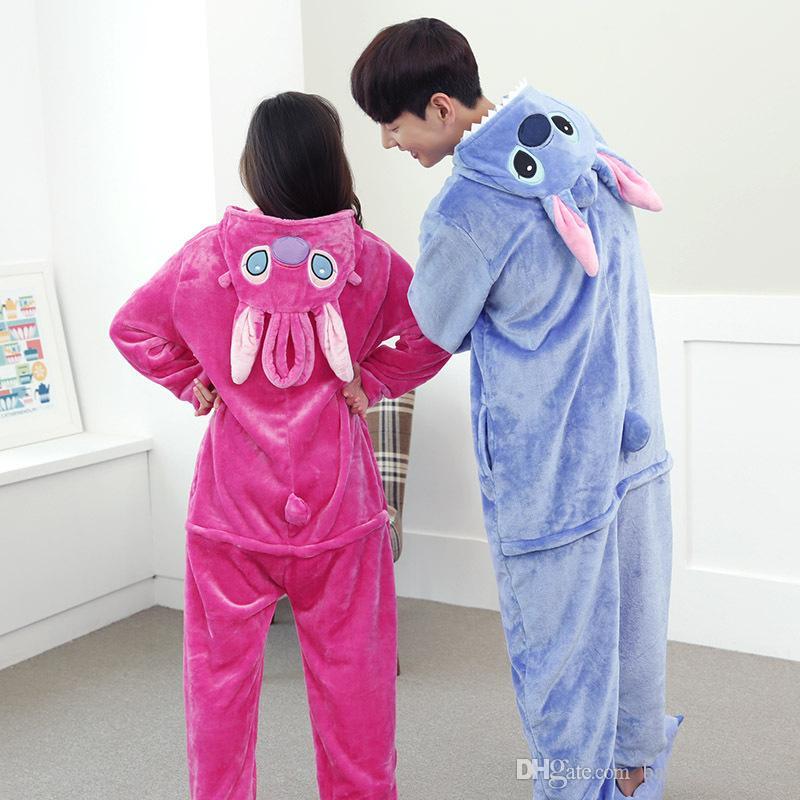 Lovely Cheap Blue Stitch Kigurumi Pajamas Anime Pyjamas Cosplay Costume Adult Unisex Onesie Dress Sleepwear Halloween S M L XL