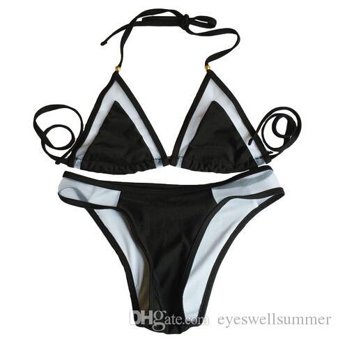 2016 الجديد الثلاثي الصيف نمط ملابس السباحة مثير ملابس السباحة الصغيرة مصغرة الشاطئ بيكيني ضمادة شبكة biquini الاستحمام للنساء البرازيلي