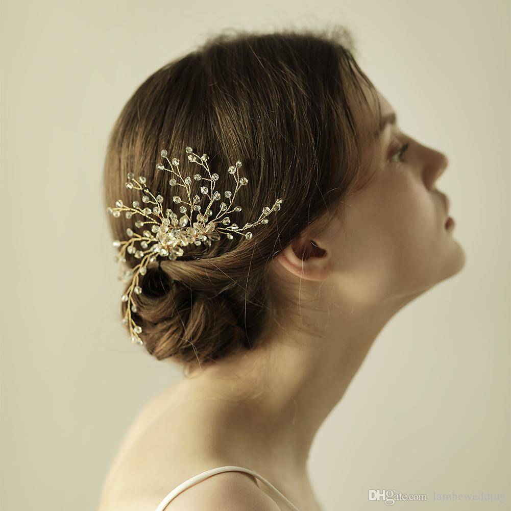 a stunning modern wedding hair combs crystals in clear flexible