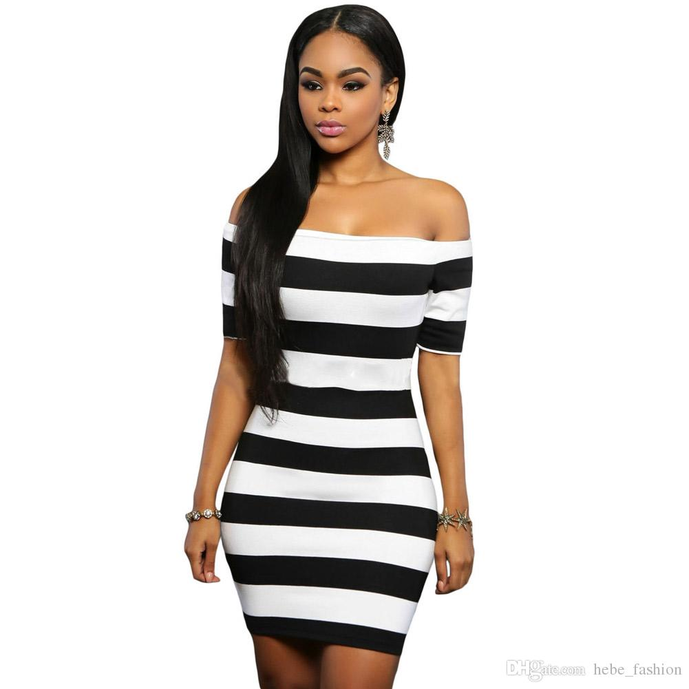 2016 Women Summer Dress Party Bodycon Dresses Black White Striped ...