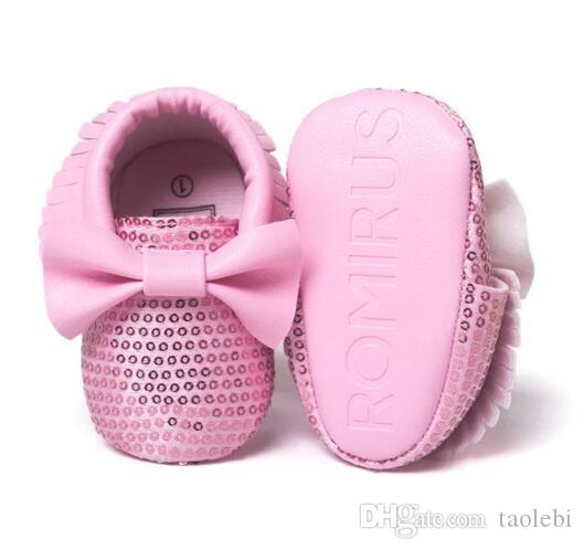 NEW Styles Baby Soft PU Leather Tassel Moccasins Girls Bow Moccs Baby Booties Shoes Moccasin Pink bow design baby princess shoes