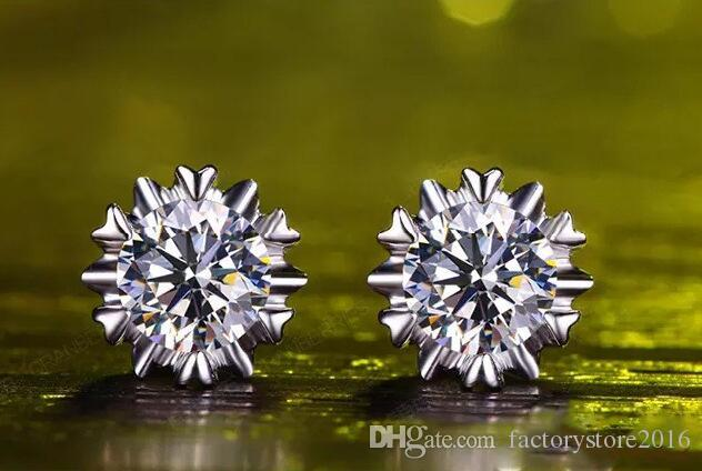 925 실버 귀걸이 자연 크리스탈 여성을위한 CZ 다이아몬드 쥬얼리 도매 패션 눈송이 귀 Sutd 귀걸이 선물