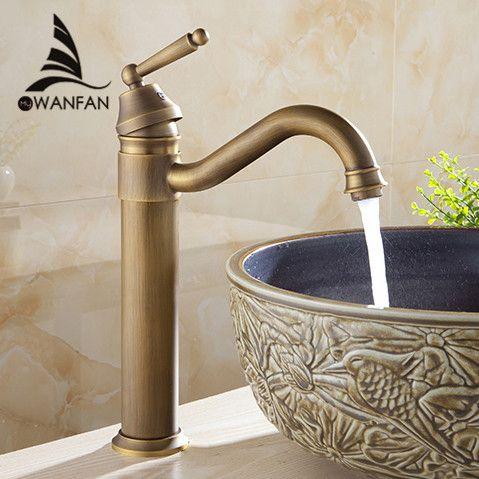 Newest Tall Design Antique Brass Water Tap Bathroom Basin Sink ...