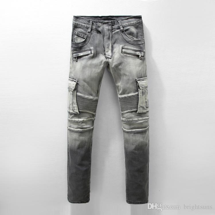 Compre 2018 Nuevo Diseño Europeo De Agujeros Con Cremallera Patchwork Jeans  Hombres Famous Brand Men Slim Jeans Hombre 100% Algodón Pantalones Rectos  ... bf4fad3422b