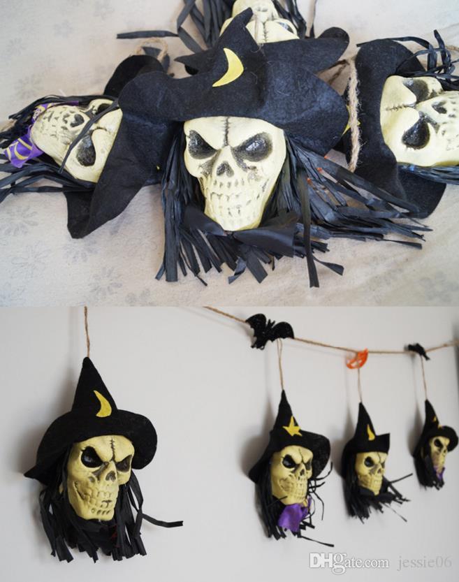Хэллоуин череп гирлянда призрак летучая мышь ведьма тыква строка баннер флаг клуб бар украшения магазин атмосфера череп глава кулон флаг реквизит