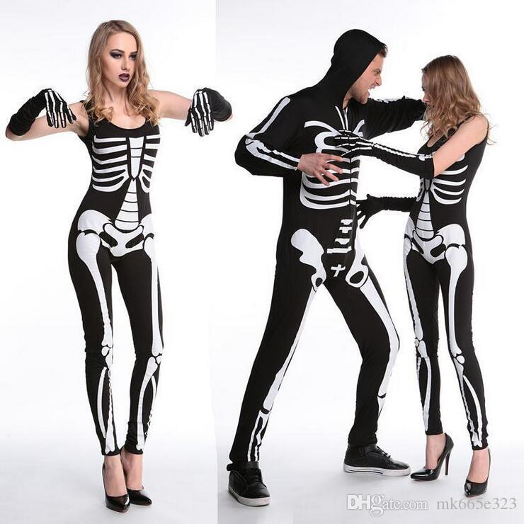 New Cosplay Living Dead Skeleton Costume Printed Black Ghost Costume Stage Uniform Halloween Costumes For Women u0026 Men Carnival Party 4 Person Halloween ...  sc 1 st  DHgate.com & New Cosplay Living Dead Skeleton Costume Printed Black Ghost Costume ...