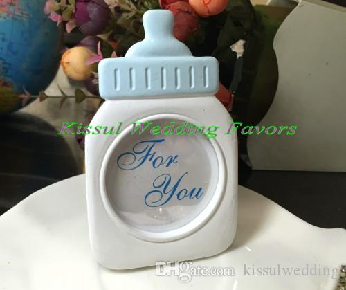 Baby shower Party decoration Favors of Baby Bottle Frame in Blue and Pink For baby souvenirs and Baby Birthday gift