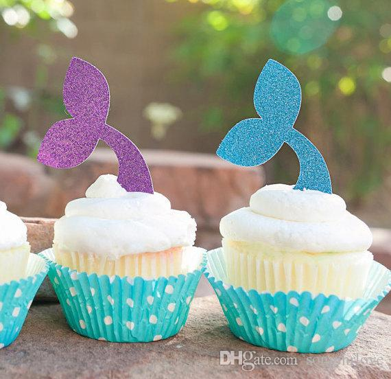 Cheap Christmas Mermaid Tail Cupcake Toppers Under The Sea Food