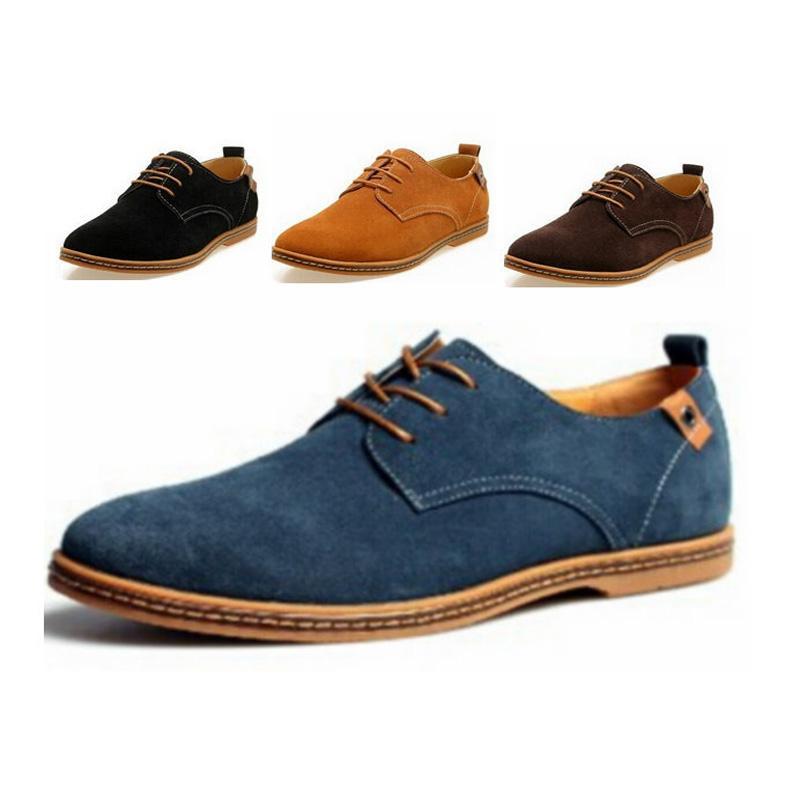 ... Casual Para Hombre Zapatos Formales De Oxford Punta De Ala Pisos De  Cuero De Ante Cordones De Gran Tamaño Zapatos De Vestir De Fiesta De Moda  Británica ... 4a0b9d6fbc91