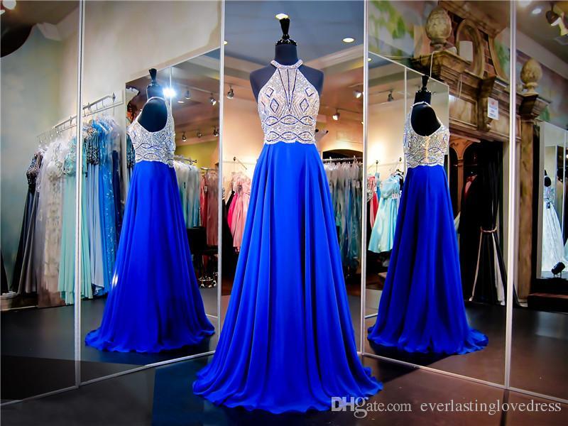 Royal Chiffon Prom Dress Silver Beaded Halter Top See