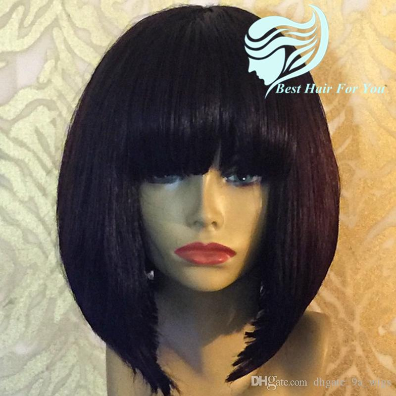 Brazilian Human Hair Bob Wig With Bangs Full Lace Wigs For Black Women Short Bob Lace Front Wig With Bang 150 Density