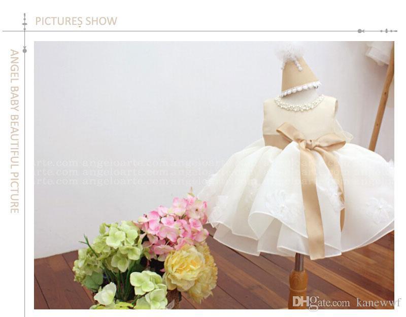 Champagner Sommer Sleeveless Girls Tutu Kleider für Hochzeit, Mädchen Taufkleid, Infant Geburtstag Outfit Prinzessin
