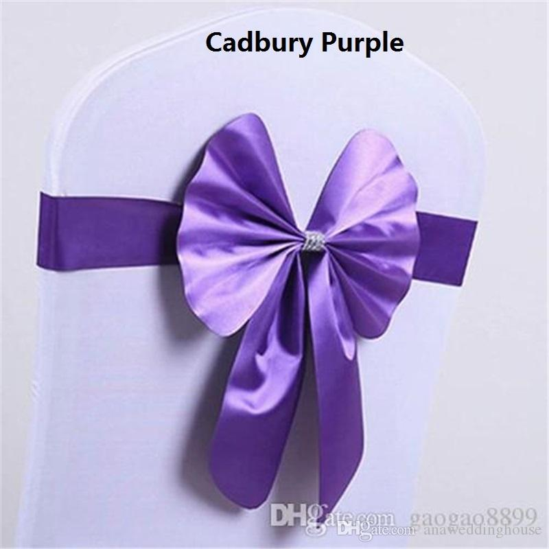 2018 Fashion Colorful Chair Bow for Weddings satin Bows Delicate Wedding Decorations Chair Covers Chair Sashes Wedding Accessories Custom