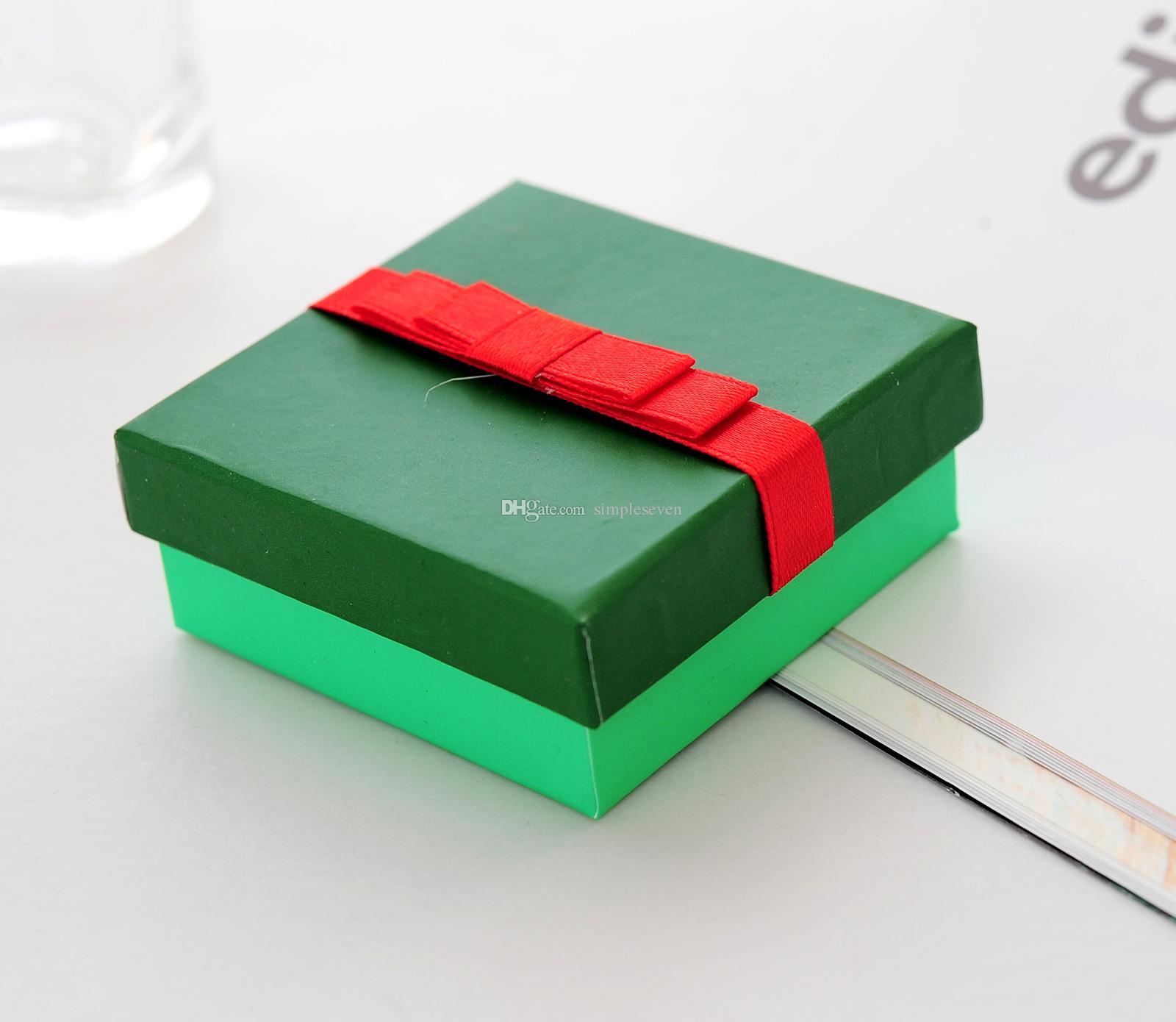 [간단한 세븐] 솔리드 녹색 팔찌 상자 / 크리스마스 귀걸이 케이스 레드 Bowknot와 / 화려한 펜던트 디스플레이 / 특별 선물 보석 상자 중동
