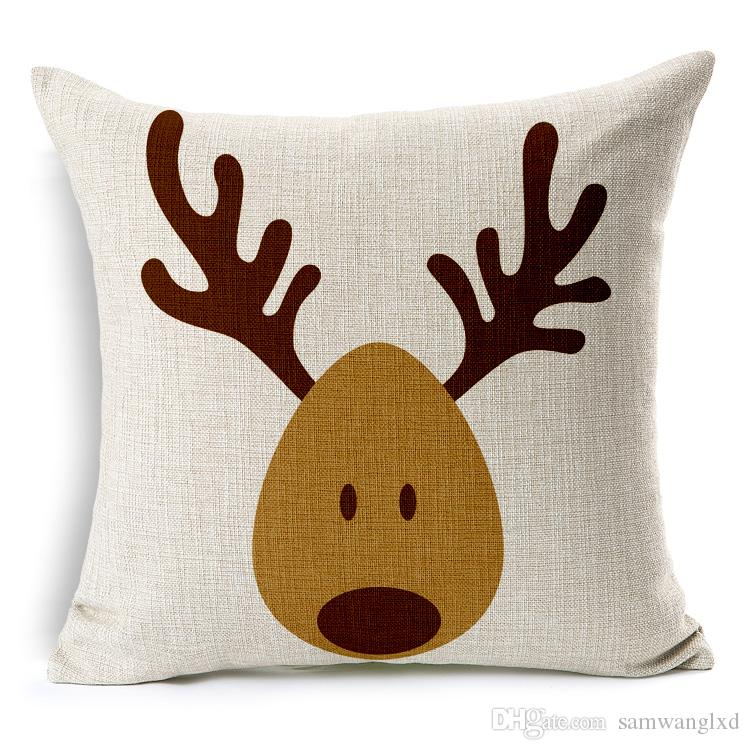 Modern Simple Cotton Linen Cushion Cover Pillowcase Cartoon Elk For Seat and Back Square Pillow Cover 18 inches Home Decorative Pillows