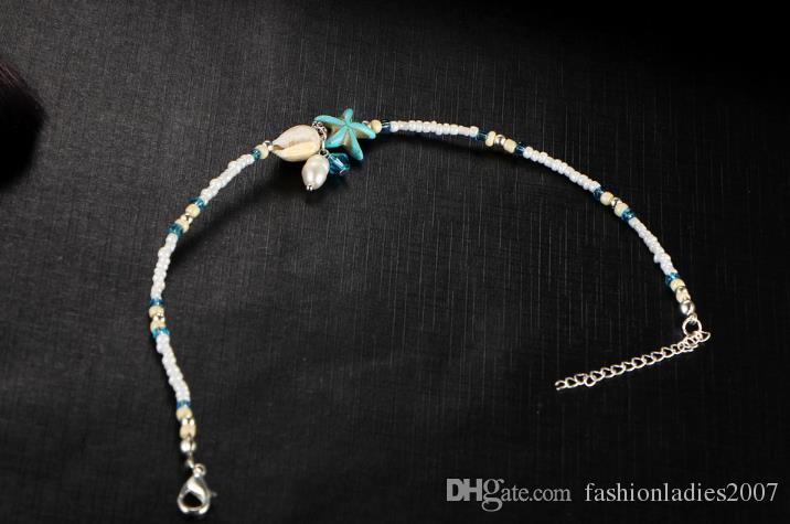 Shell cheville perle perles étoiles de mer cheville pour les femmes 2017 mode Vintage à la main pieds nus sandale déclaration Bracelet pied bijoux Boho