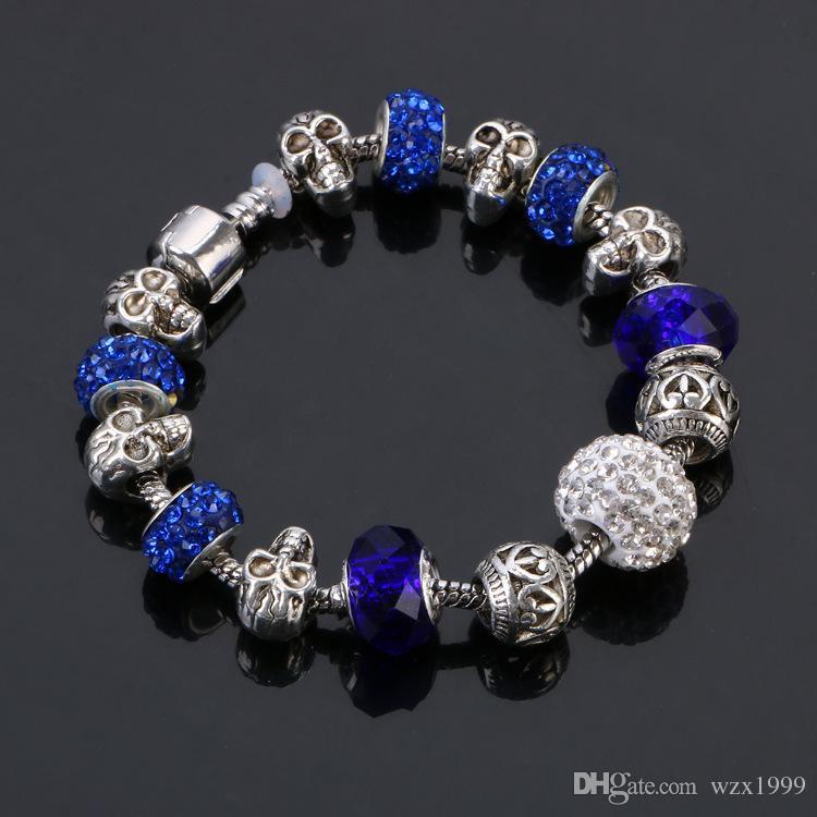 Jóias diy 925 pulseira de crânio de prata, pulseira, europeu charme pulseiras pérolas se encaixa diy beads caber pulseiras de pandora para mulheres