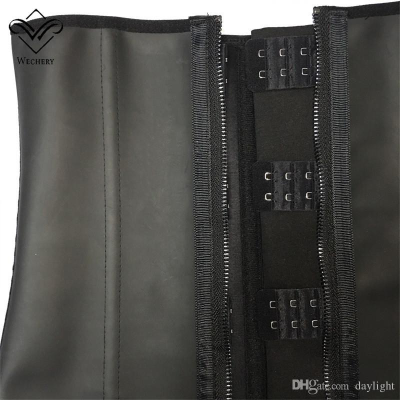 Entrenamiento de la cintura del látex Entrenamiento de la cintura Corsés Cremallera y ganchos Combo Underbust 100% Smooth Latex Cintura de goma Cincher Zip y Clip Waist Shaper