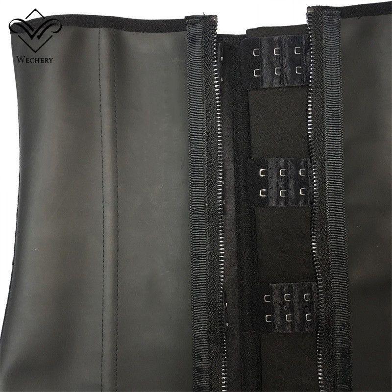 Latex Waist Trainer Waist Training Corsets Zipper And Hooks Combo Underbust 100% Smooth Latex Rubber Waist Cincher Zip And Clip Waist Shaper