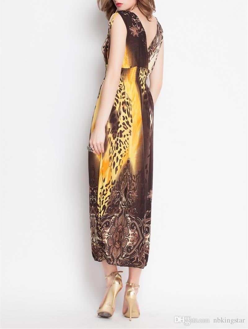 Neuer Sommer-reizvolle Frauen-böhmische Blackless Kleid V-Ansatz Sleeveless Leopard-Blumenkleider Strand-langes Kleid-freie Größe