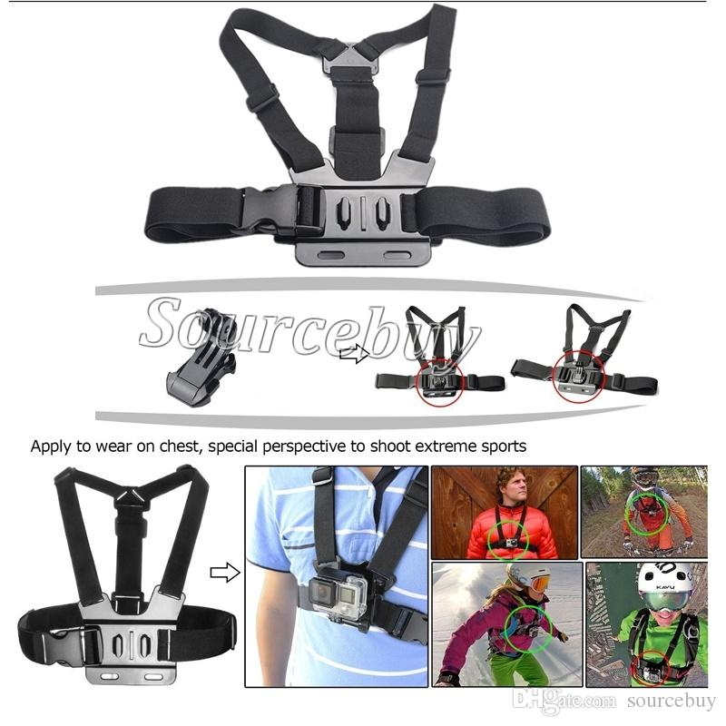 For Gopro hero 5 Sport camera accessories chest strap mount clamp 12 in 1 kit for SJCAM go pro accessories EKEN action camera